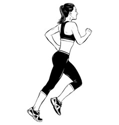 running woman in white background vector image