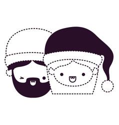 Santa claus couple cartoon faces man wink eye and vector