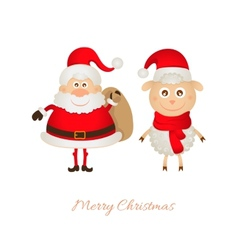 Santa Claus with a bag of gifts and sheep vector