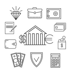 save money or finance line art concept vector image vector image