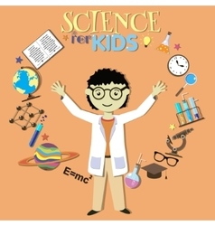 Science for kids Cartoon scientist collection of vector