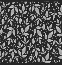 seamless pattern with white leaves on black vector image