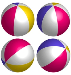 Set 3D beach ball isometric vector