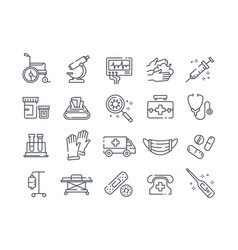 set black and white disease icons vector image