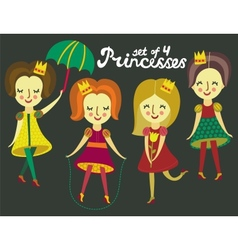 Set of 4 cute colorful Princesses vector image vector image