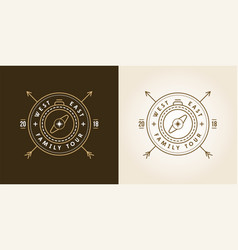set of camping adventure expedition logo badge vector image