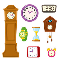 Set of clock watch and hourglass cartoon icons vector