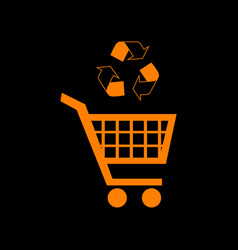 shopping cart icon with a recycle sign orange icon vector image