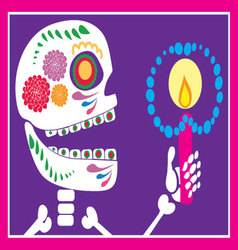 Skull of sugar with candle vector
