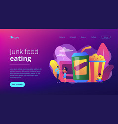 Snacking non-stop concept landing page vector