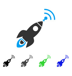 Space rocket radio translation flat icon vector