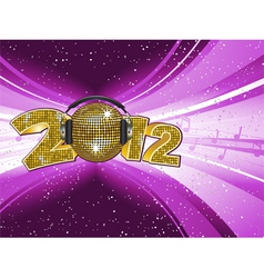 Sparkling gold disco ball and headphones on a 2012 vector
