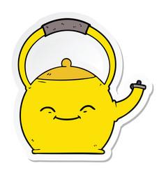 Sticker a cartoon kettle vector