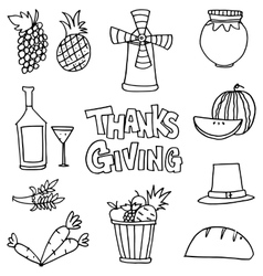Stock thanksgiving set on doodles vector