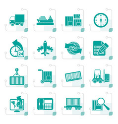 Stylized shipping and logistics icons vector
