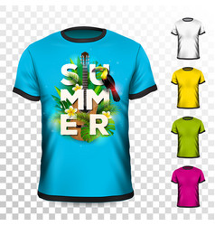 summer holiday t-shirt design with tropical leaves vector image