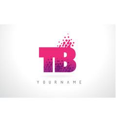 tb t b letter logo with pink purple color and vector image