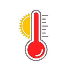 Thermometer sun heat temperature icon vector