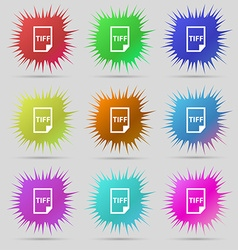 TIFF Icon sign A set of nine original needle vector image