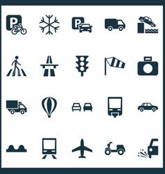 Transport icons set with freeway parking for bike vector