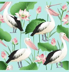 Tropical exotic print pelicans image vector