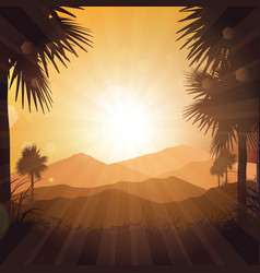Tropical landscape at sunset vector