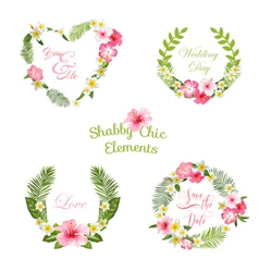 Tropical Leaves and Flowers Banners and Tags vector image