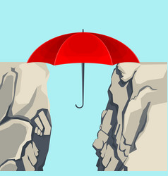 umbrella hanging on edges of abyss isolated vector image