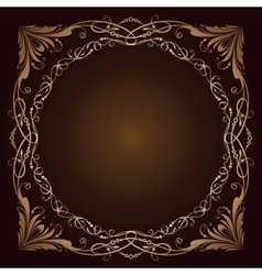 Vintage radial ornament over brown vector image