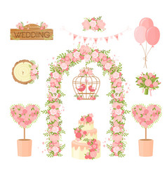 Wedding party flower decoration items cartoon vector