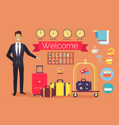 Welcome hotel services on vector