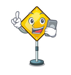 With phone harm warning sign shaped on cartoon vector