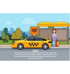 Woman wait for taxi at station city transport vector
