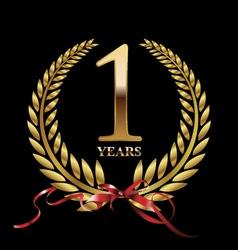 1 year anniversary laurel wreath vector image