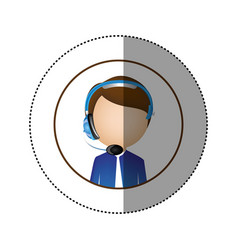 color sticker of circular frame with man call vector image