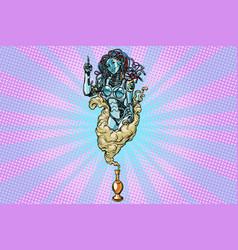 female robot servant jean promo announcement vector image vector image