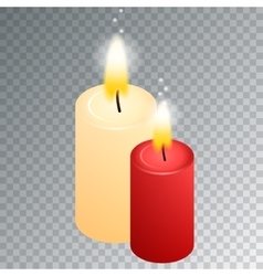 isometric candle with fire animation on vector image vector image