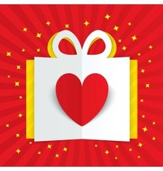 Paper heart in gift box with yellow flare stars vector image vector image