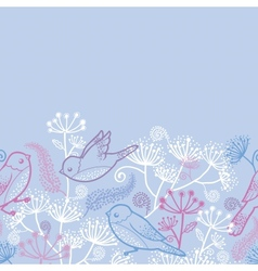 Pastel birds and flowers horizontal seamless vector image vector image