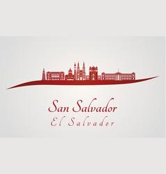 san salvador skyline in red vector image vector image