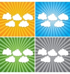 Abstract sun rays with clouds background vector
