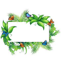 border template with butterflies and leaves vector image vector image