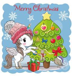 cute cartoon unicorn in a scarf vector image vector image