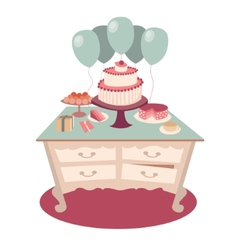 Festive table with sweets and balloons vector image