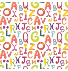 Many hand-drawn cute funky letters on white vector image