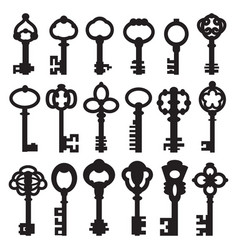 set of isolated graphical retro keys vector image