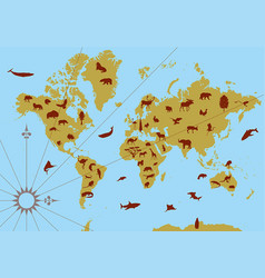 world contour map with animals vector image vector image