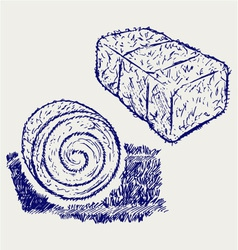 Bale of hay vector image vector image