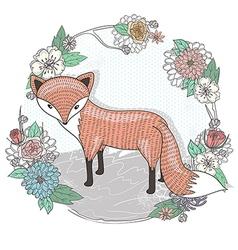 Cute little fox Flower frame vector image
