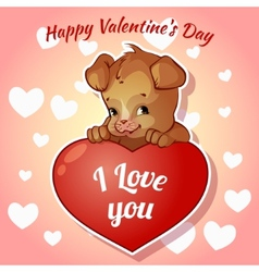 Cute puppy with hearts for Valentines Day vector image
